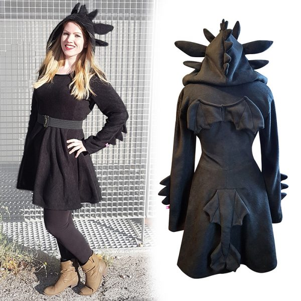 Black dragon cosplay dress