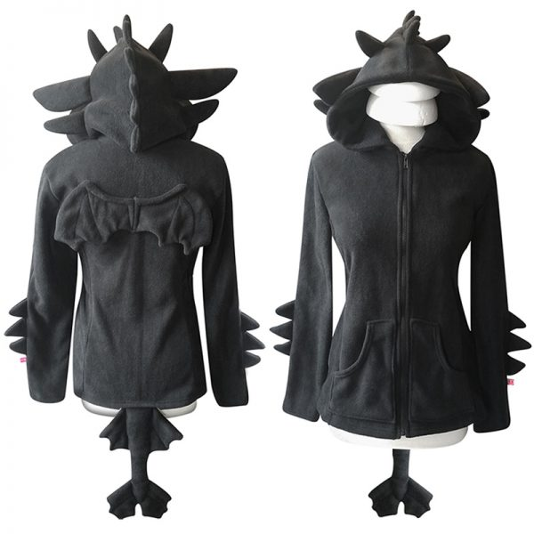 Black dragon zippered hoodie (mens and womens sizes!)