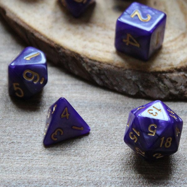Opaque purple dice set