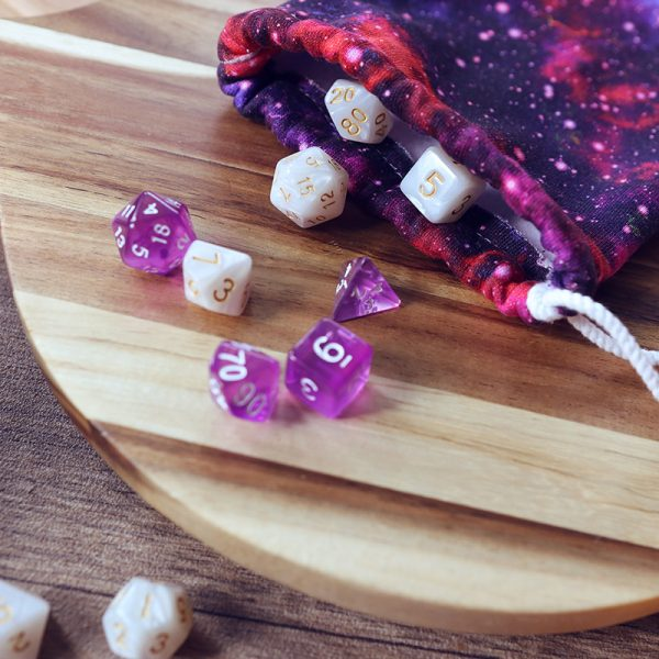 Translucent purple dice set