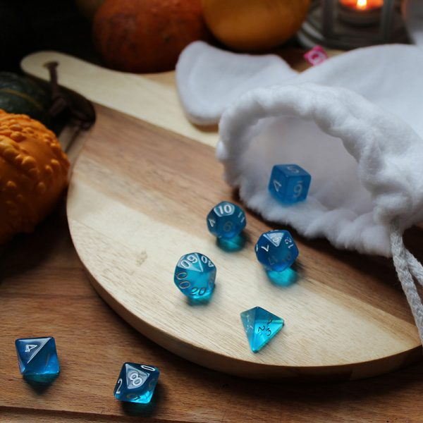 Translucent blue dice set