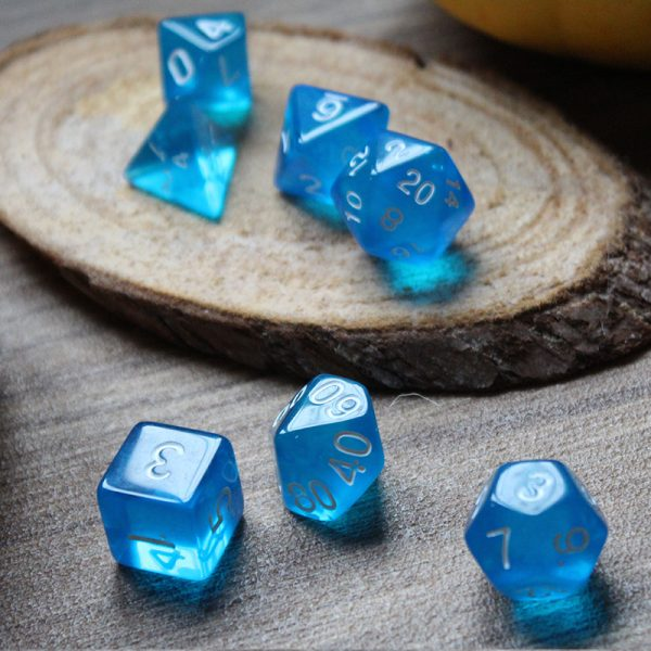 Translucent blue dice set