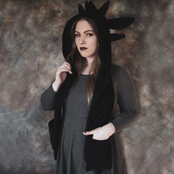 Black dragon scarf hood