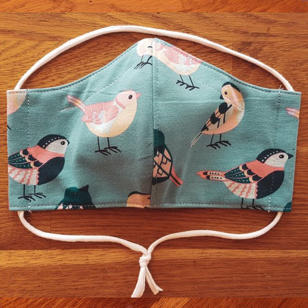 Fabric facemask with cute modern birds print
