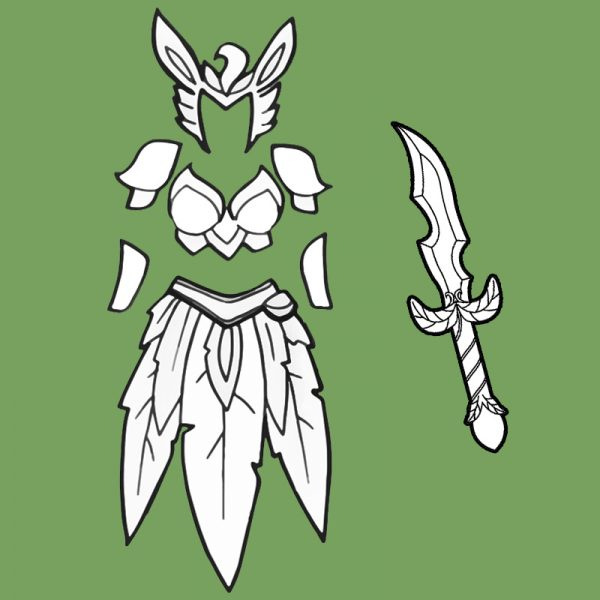 Woodelf Leafeon armor and skirt cosplay blueprints