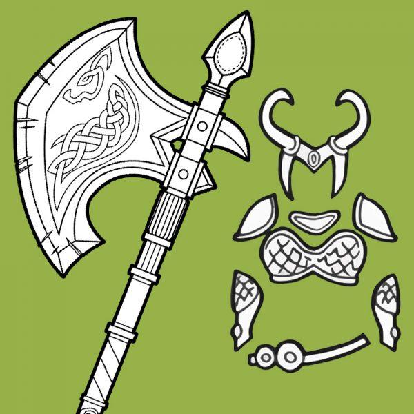 Lady Loki armor and axe cosplay blueprints