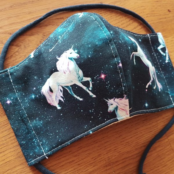 Fabric facemask with galaxy unicorns print