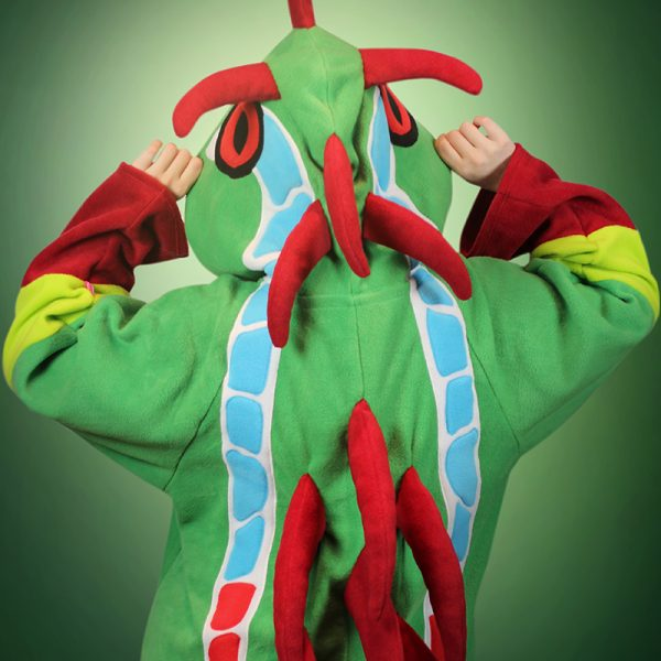 Green frog dragon cosplay onesie