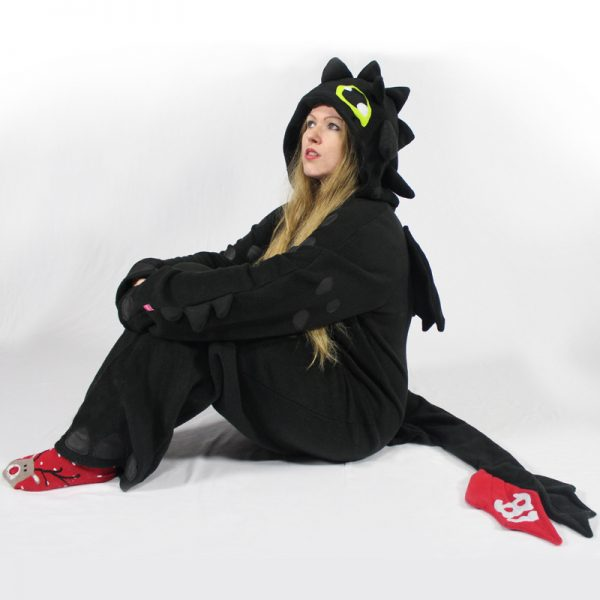 Black dragon cosplay onesie