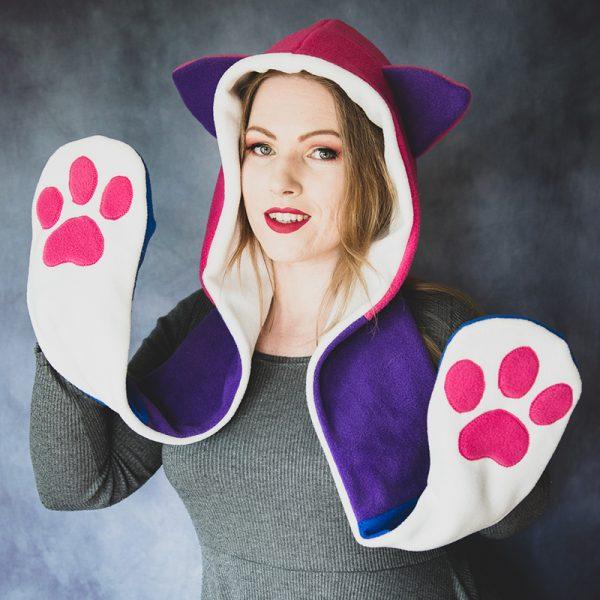 Cute cat scarf hood – Pink,purple,blue