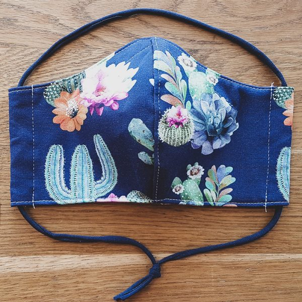 Fabric facemask with cactus, flowers and succulents