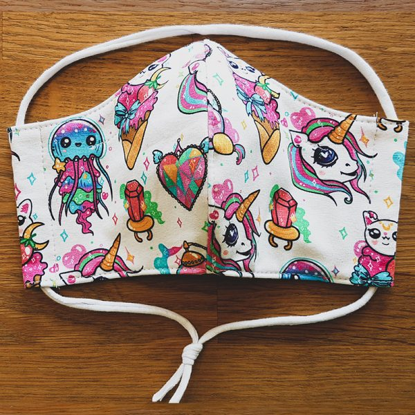 Fabric facemask with magical creatures print