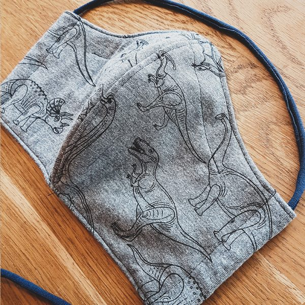 Fabric facemask with dinosaurs