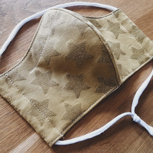 Fabric facemask with glitter stars print
