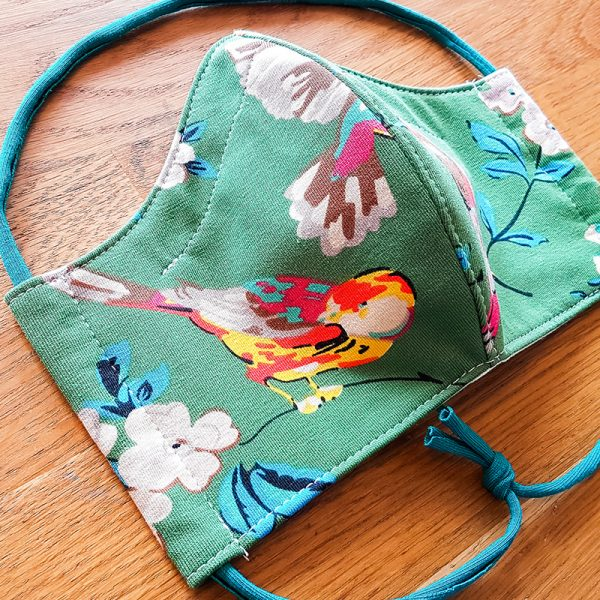 Fabric facemask with birds and flowers
