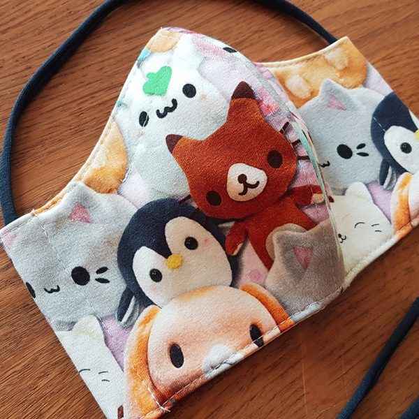 Fabric facemask with cute kawaii animals