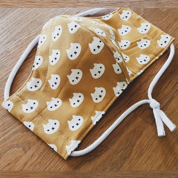 Fabric facemask Yellow polkadot cats print