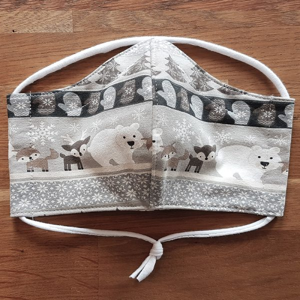 Fabric facemask with cute winter animals print (fox, deer, polarbear)