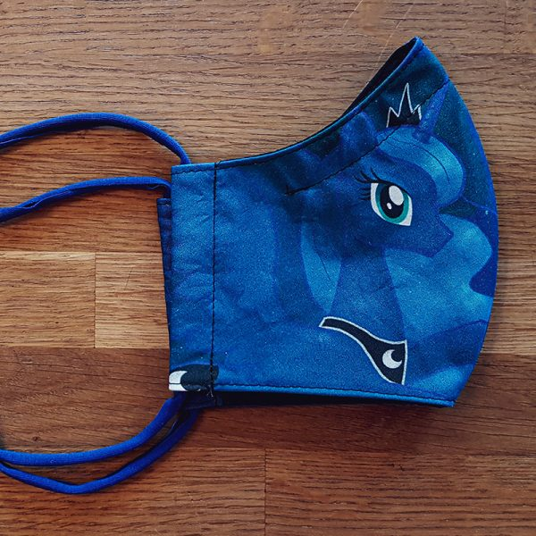 Fabric facemask with princess Luna drawing (my own artwork!)