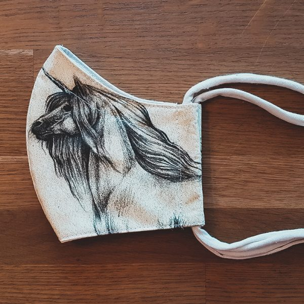 Fabric facemask with unicorn drawing (my own artwork!) – LAST ONE!