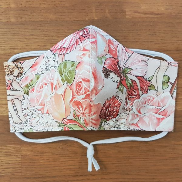 Fabric facemask with fairy and roses print