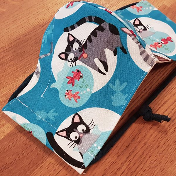 Fabric facemask with cute cats and fishbowls