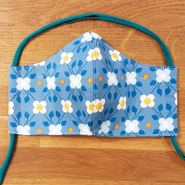 Fabric facemask with blue retro flower print