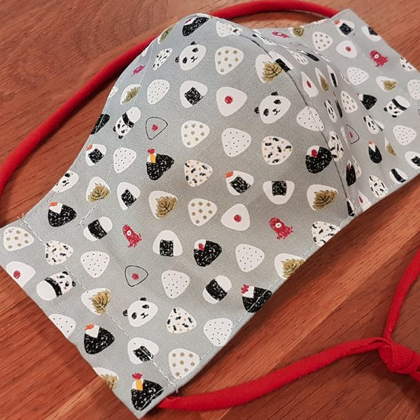 Fabric facemask with stylish sushi print