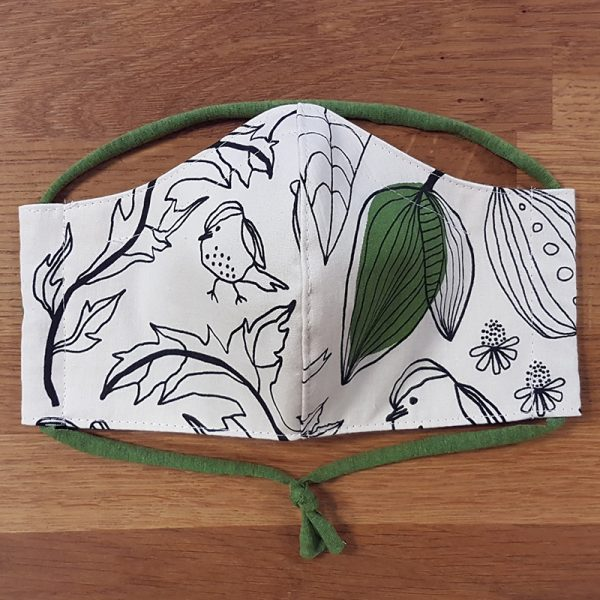 Fabric facemask with birds and plants
