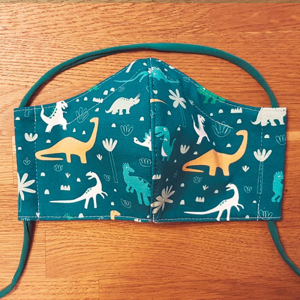 Fabric facemask with dinosaurs print