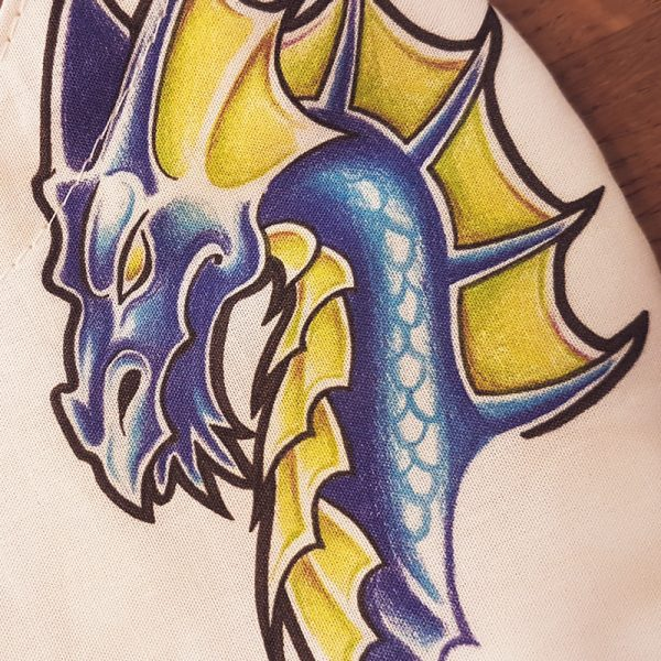 Fabric facemask with blue dragons drawing (my own artwork!)