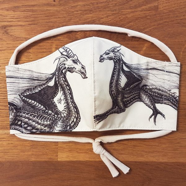 Fabric facemask with dragon drawing (my own artwork!)