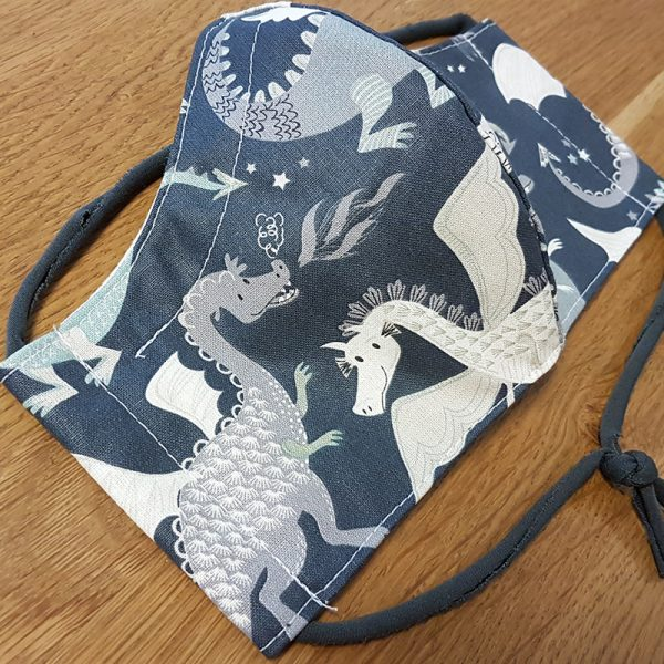 Fabric facemask with fierce dragons