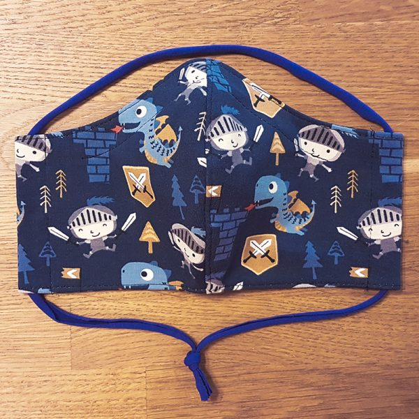 Fabric facemask with knights, castles and dragons