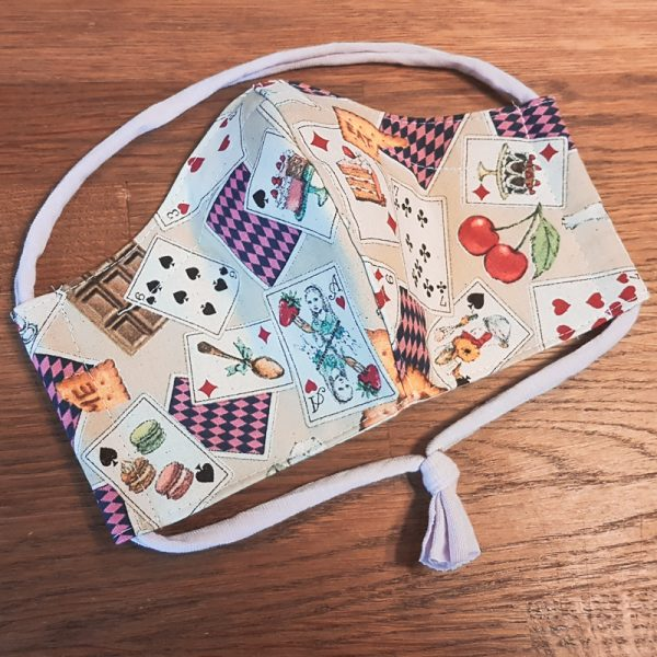 Fabric facemask with Alice in Wonderland print