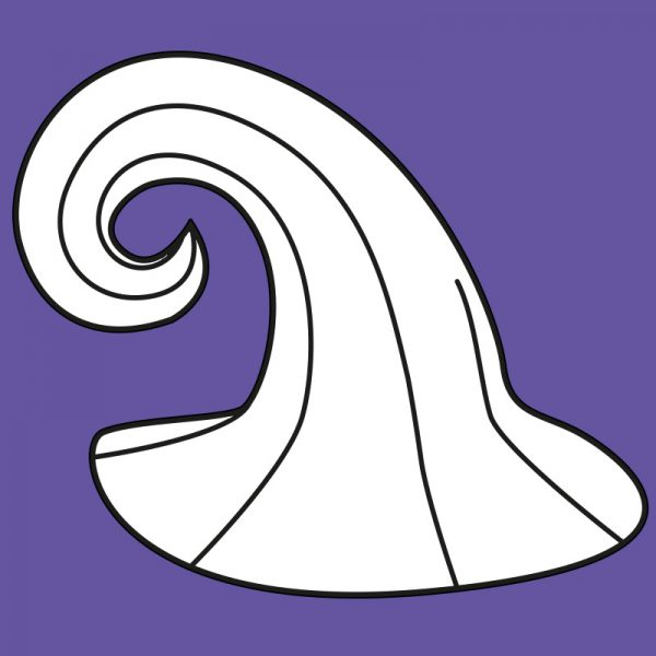 Swirly witch/wizard hat pattern