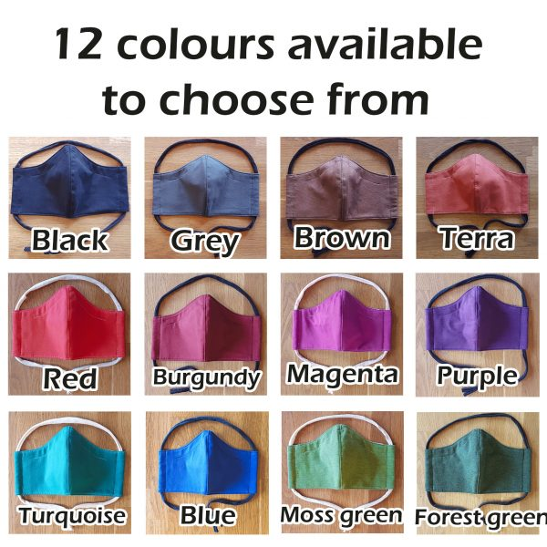 Fabric facemask in uni colour (12 colours to choose from!)