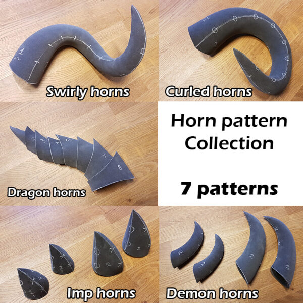 Foam horns pattern collection – 7 patterns and Instruction Ebook