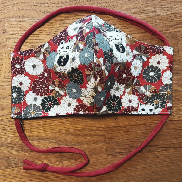 Fabric facemask with lucky cats and flowers