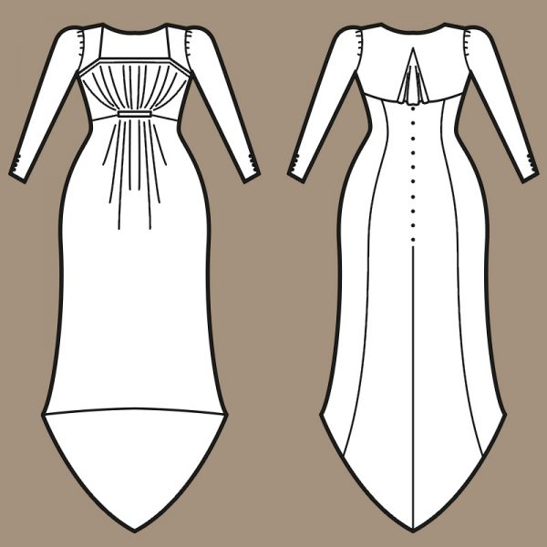 Vintage dress with ruffled front sewing pattern