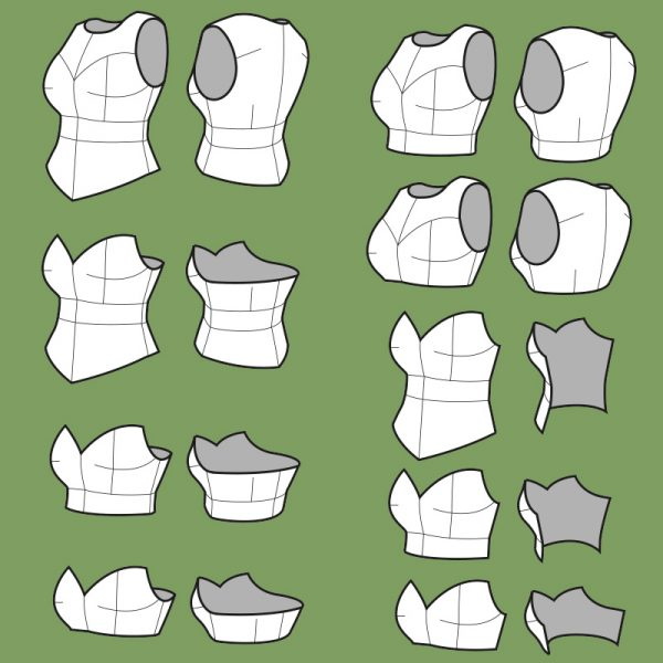 Knight Breastplate pattern collection – 9 variations